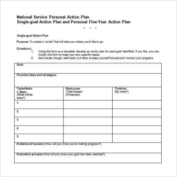 Career Action Plan Template 11 Free Sample Example Format – Sample Personal Action Plan