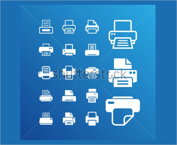 awesome printer icons set