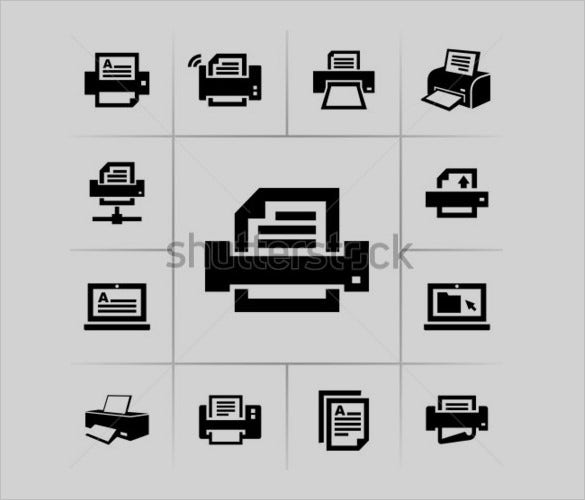 best printer icons set