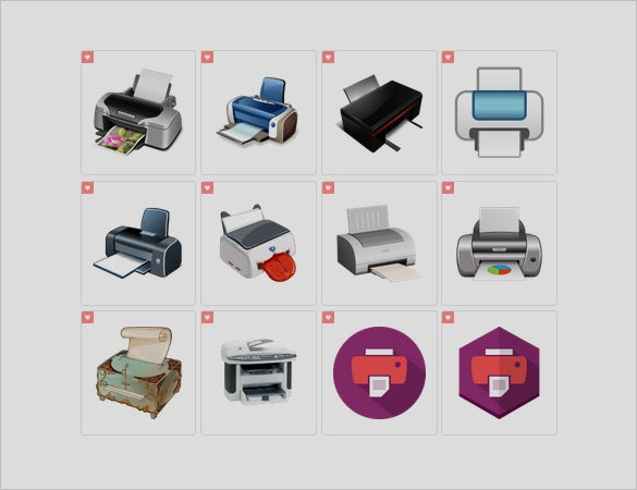 different printer icons set