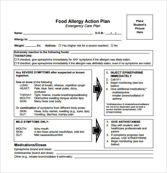 food allergy action plan pdf free download