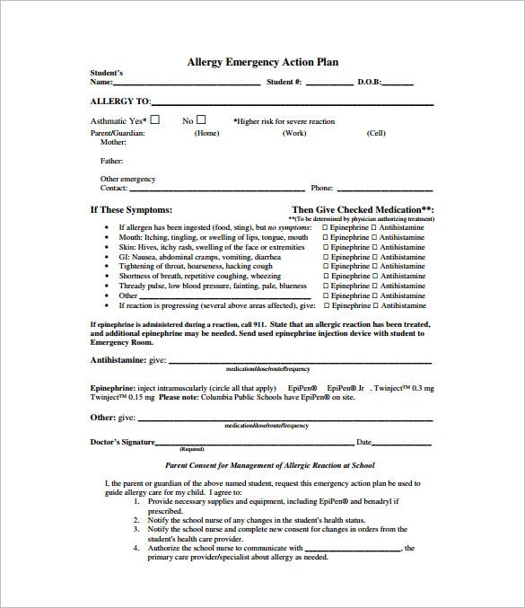Allergy Action Plan Template   Free Sample Example Format