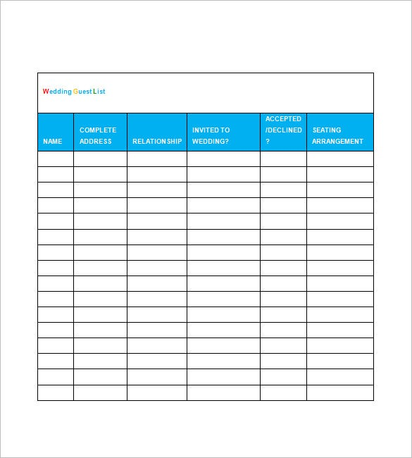 Sample Wedding Guest List Template Free
