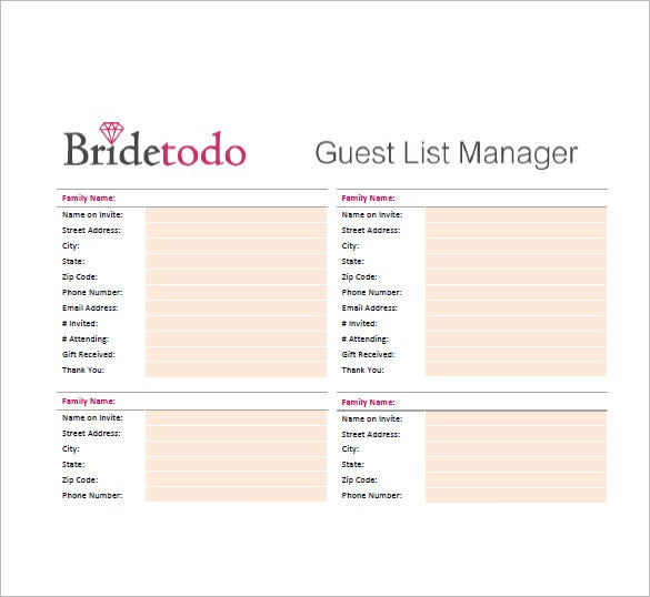 Wedding Guest List Printable  Guest List Sample