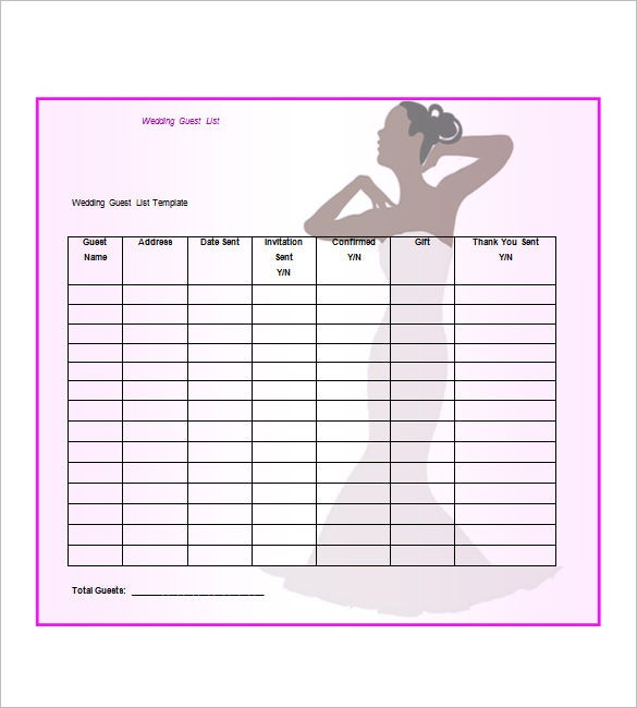 How To Make A Wedding Guest List Template. Free Download  Free Printable Wedding Guest List