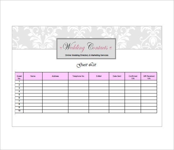 Wedding Guest List Template 10 Free Word Excel PDF Format – Free Wedding Guest List Template