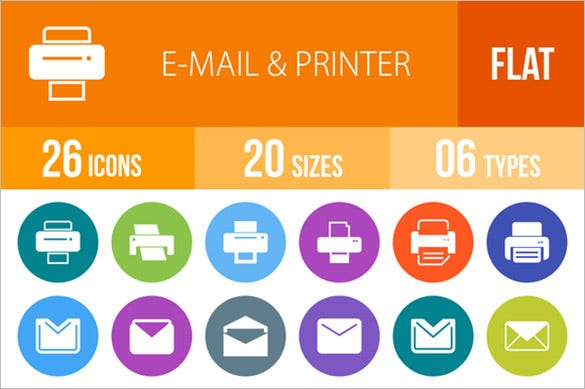 download printer flat icons