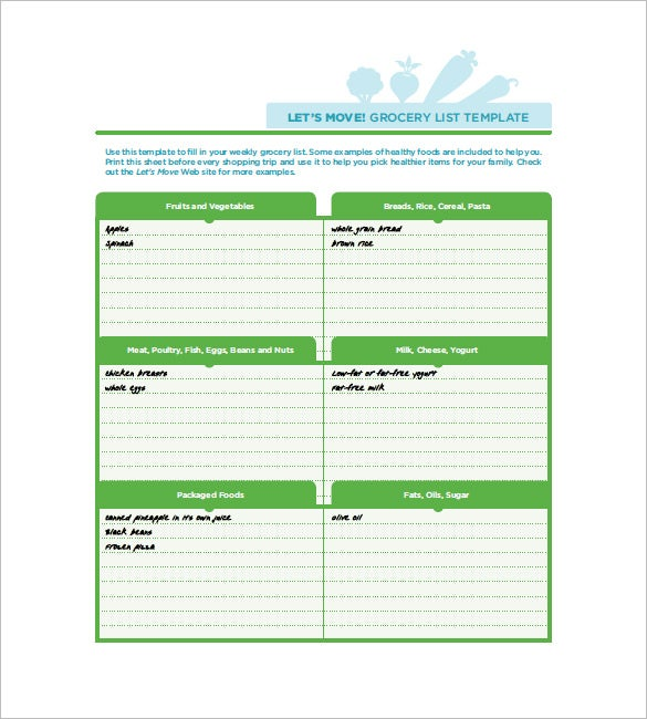 Shopping List Template 12 Free Word Excel PDF Format Download – Shopping List Format
