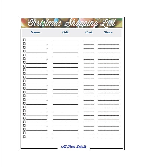 Christmas Shopping List Template Free Downlaod  Free Shopping List Template