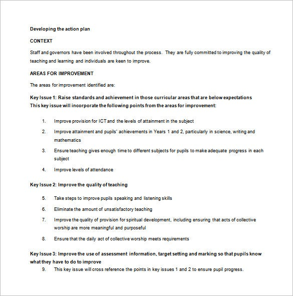 Primary School Action Plan Sample Template