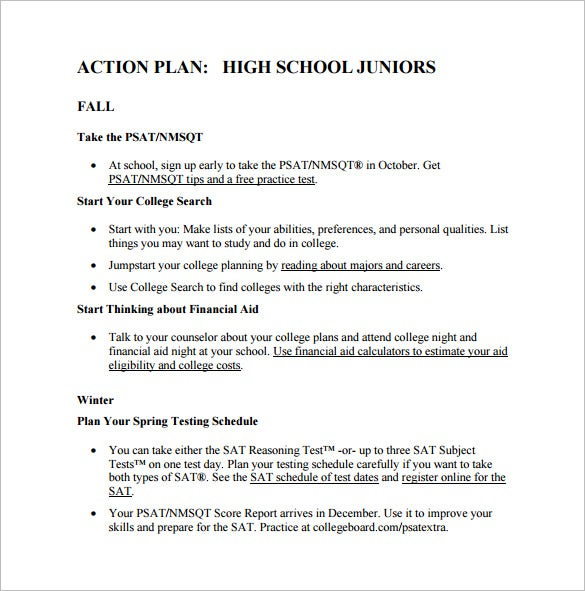 high school action plan pdf format download