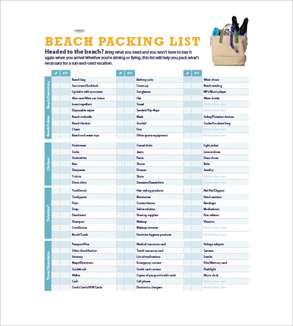 Sample Packing List Beach Packing List Template Free Download