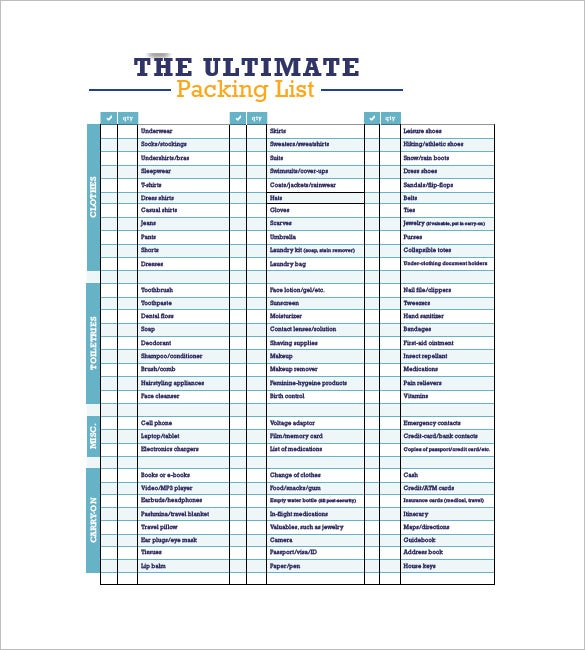 Packing List Template   Free Word Excel  Format Download