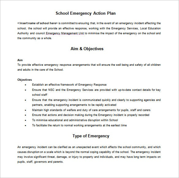 School Emergency Action Plan Sample