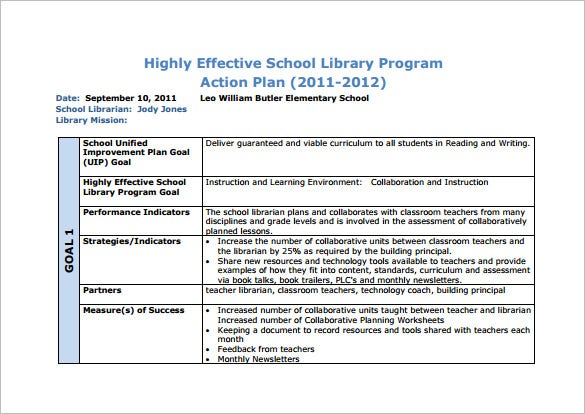 format of school library action plan template