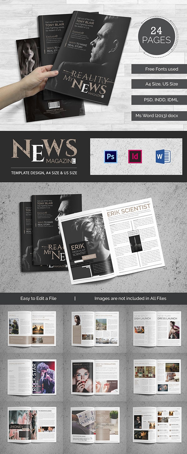 brand new magazine templates word psd eps ai stylish news magazine for microsoft word news magazine templete600