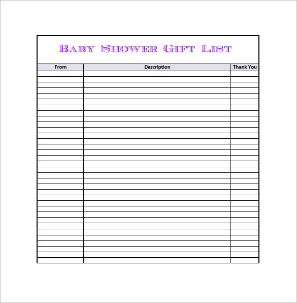 Baby shower gift list template 8 free word excel pdf for Wedding shower gift list template