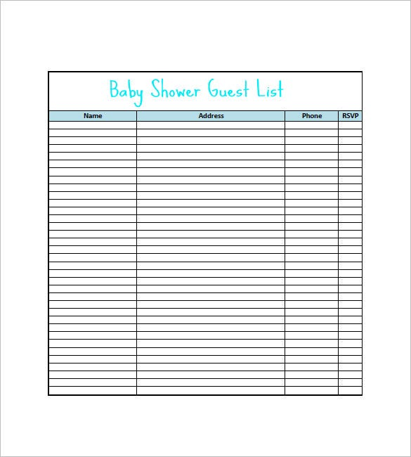 Baby Shower Gift List Template 8 Free Word Excel PDF Format – Baby Shower Guest List Template