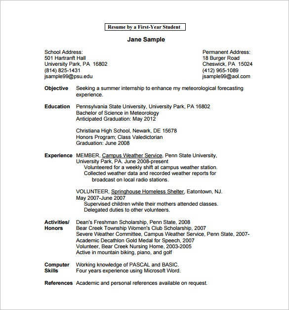 First Year Student College Resume PDF Free Download