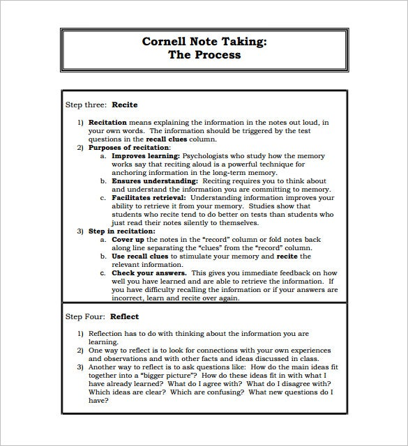 Attractive Cornell Note Taking PDF Format Download  Microsoft Word Note Taking Template