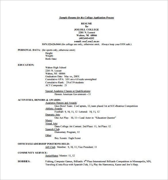 Sample Resume For College Application - Templates