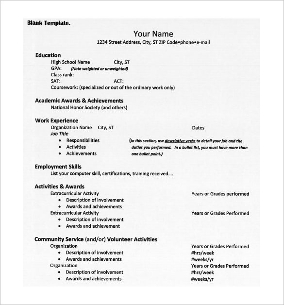 College Admission Resume Pdf Free Download