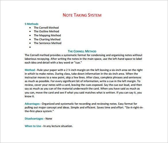 word note taking template