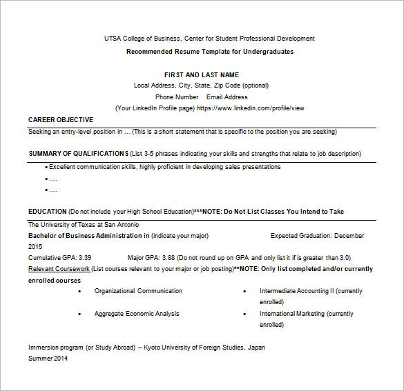 Resume Templates On Word Best Word Resume Template High School