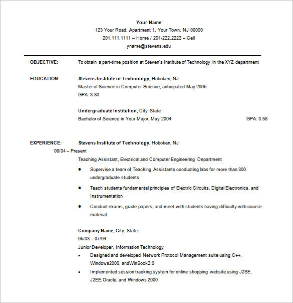 free undergraduate college resume template download - Resume Templates For Students In College
