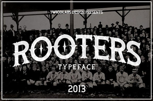 free rooters vintage style baseball font