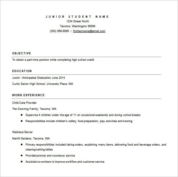 High School Resume Microsoft Word Free Download  College Resume Template Word