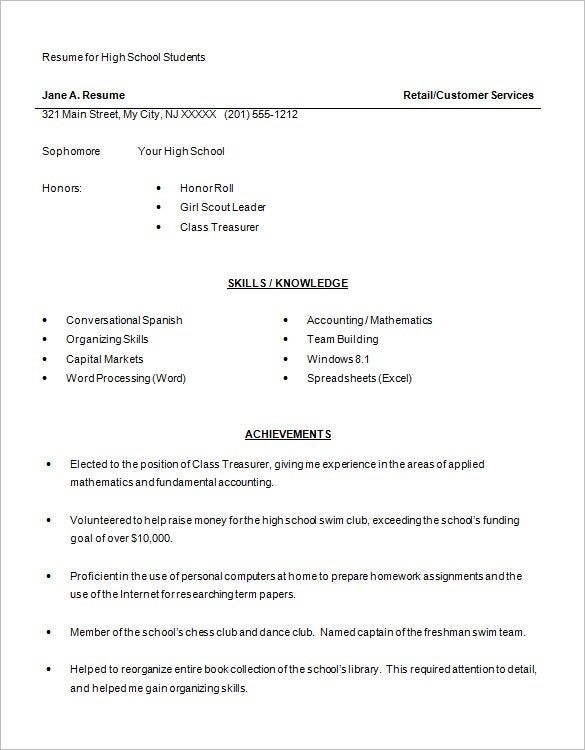 High School Student Resume Word Free Download  Resume For A High School Student