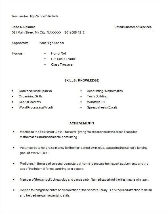 resume in excel format