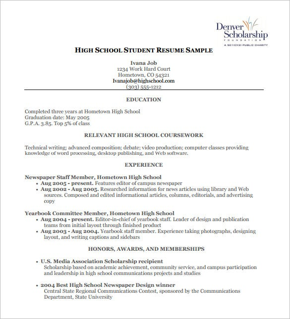 High school resume template 9 free word excel pdf for Sample resume for high school students applying for scholarships