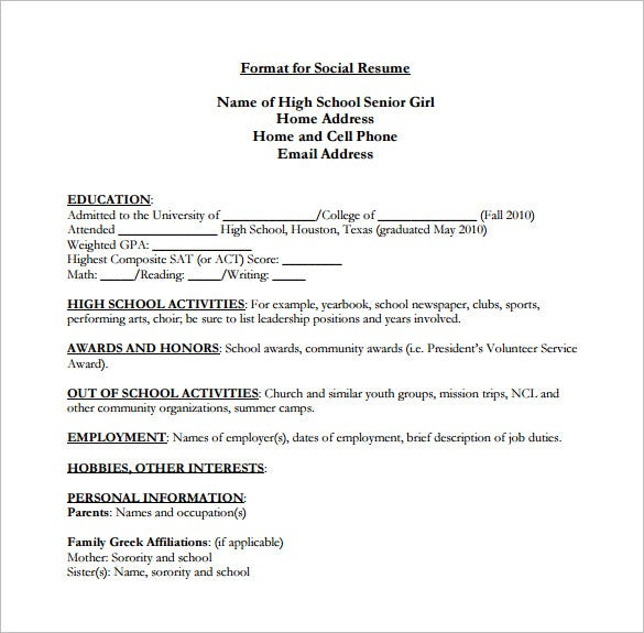 high school resume template 9 free word excel pdf format - Sample College Resumes For High School Seniors