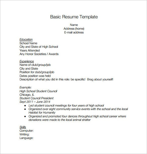 Basic High School Resume PDF Free Download  Resume For A High School Student