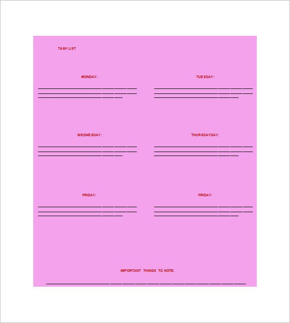 task list word template