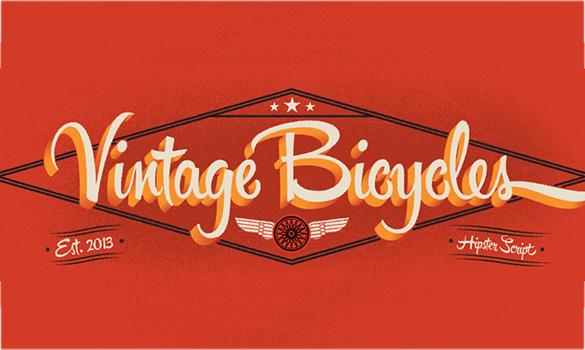 vintage hipster script font for premium