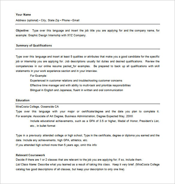 combination resume template word free download - Online Resume Formats 2