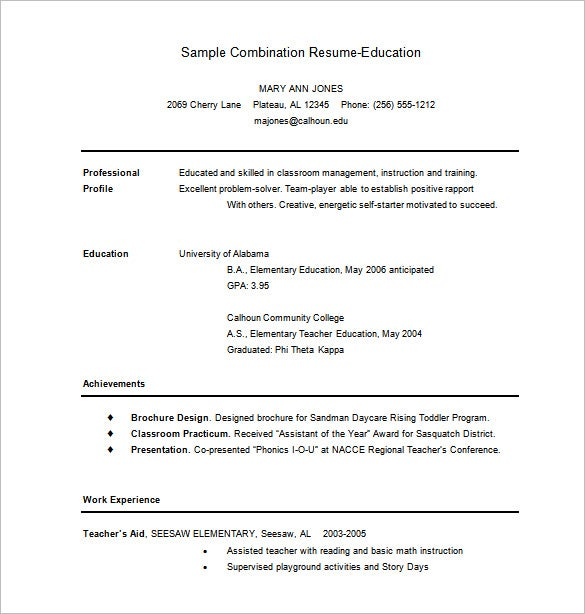 combination resume for education word free download