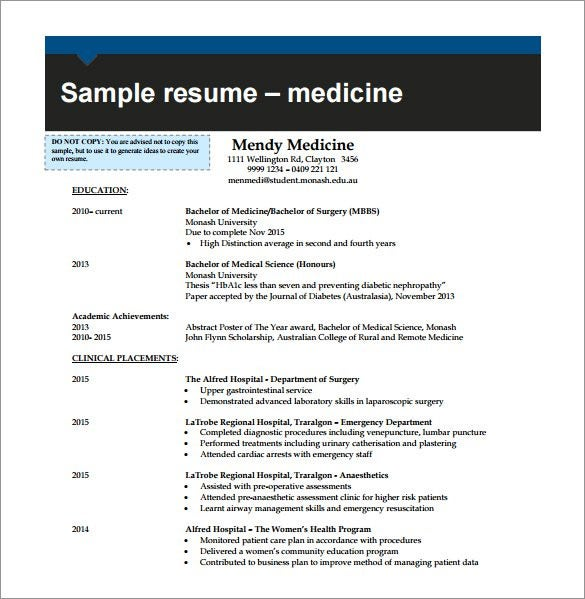 combination resume for medicine pdf free download