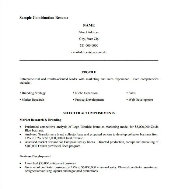 combination resume template pdf free downoad - Combination Resume Template