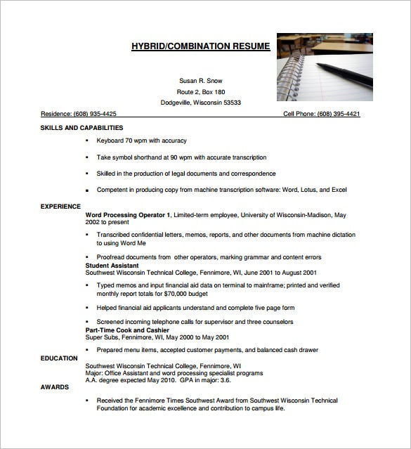 hybrid combination resume template free word