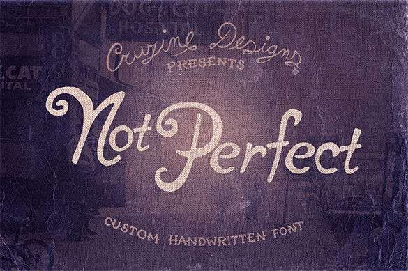 not perfect free commercial font