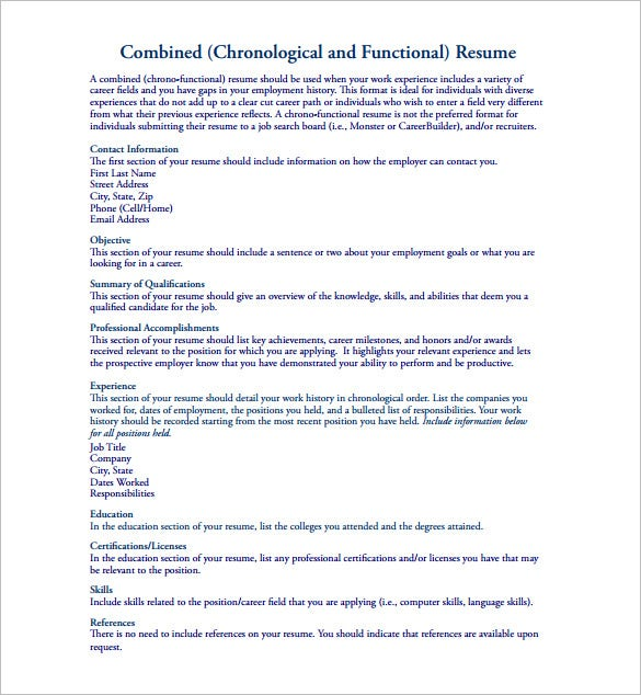 chronological and functional combination resume pdf free download