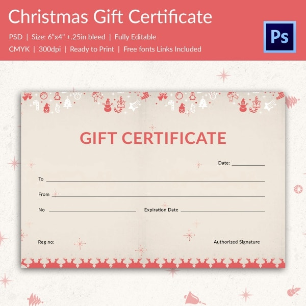 Christmas gift certificate templates 21 psd format for Holiday gift certificate template free printable