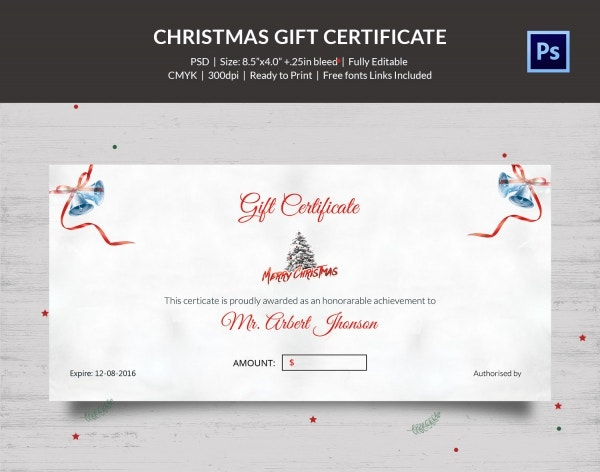 Download Blue Snowflakes Christmas Gift Certificate PSD
