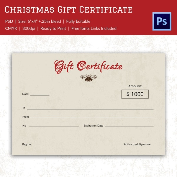 Christmas Gift Certificate Card With Red Bow