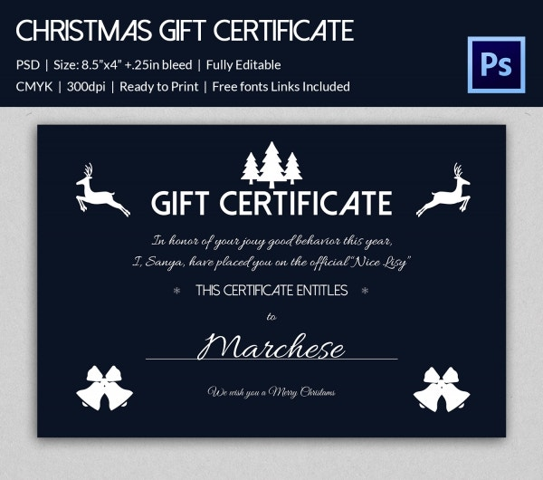 Christmas gift certificate templates 21 psd format download usd siamese dream design gift card certificate yelopaper Gallery