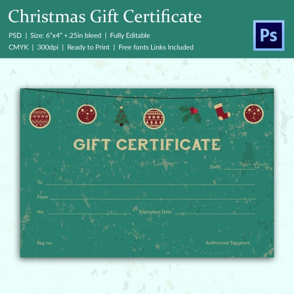 Christmas gift certificate templates 21 psd format for Homemade christmas gift certificates templates